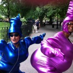 Intergalactic Bouffon Zentai, Jeffrey and I~~~Howl Festival, June 4, 2011-Performing with my handmade costumes!