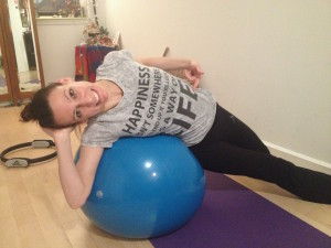My student Sophie happily feeling her side abs muscle attachments after her challenging side sit ups! She is a talented ballroom dancer and teacher, check her out! Sophie Cazenueve